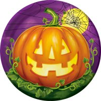 Contient : 1 x 8 Assiettes Halloween Pumpkin