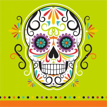 16 Petites Serviettes Calavera Party