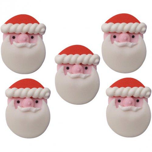 5 Décors Têtes Père Noël en sucre