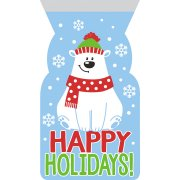 20 Pochettes Cadeaux Cello Ours polaire Happy Hollidays