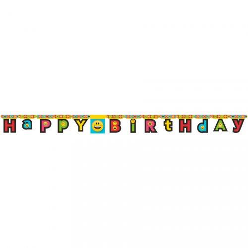 Guirlande Happy Birthday Emoji Smiley (2,23 m)