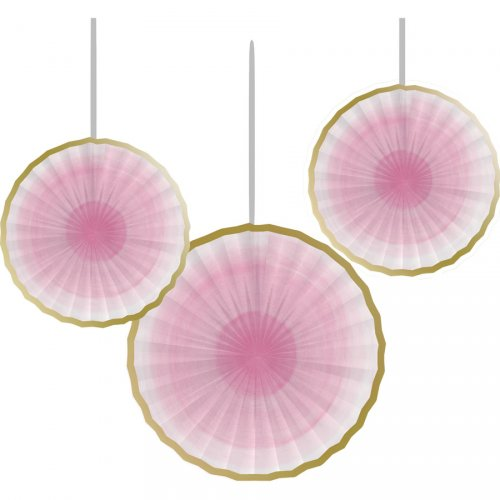 3 Eventails Déco Little Star Baby Rose et Or