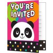 8 Invitations Joyeux Panda