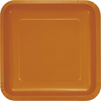 18 Assiettes Carrées Orange Camel