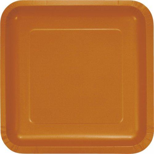 18 Assiettes Carrées Orange Camel