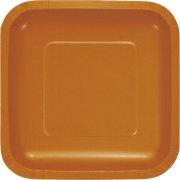 18 Petites Assiettes Carrées Orange Camel
