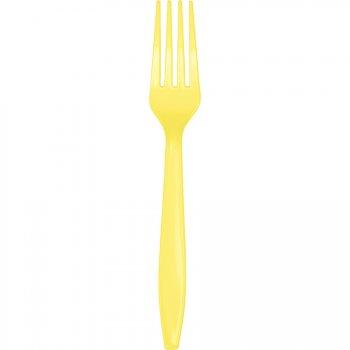 50 Grandes Fourchettes Jaune - Plastique