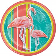 8 Assiettes Flamant Rose Oasis