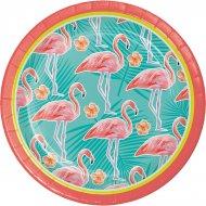 8 Petites Assiettes Flamant Rose Oasis