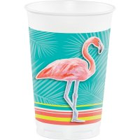 Contient : 1 x 8 Grand Gobelets Flamant Rose Oasis (47 cl)