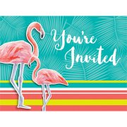 8 Invitations Flamant Rose Oasis