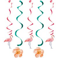 Contient : 1 x 5 Guirlandes Spirales Flamant Rose Oasis