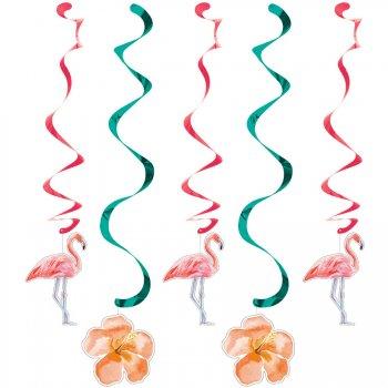 5 Guirlandes Spirales Flamant Rose Oasis