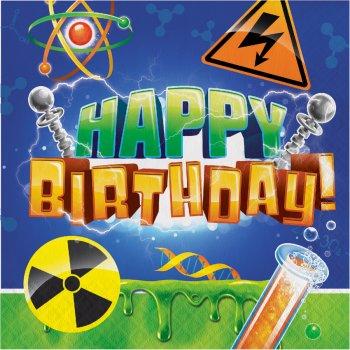 16 Serviettes Happy Birthday Savant Fou