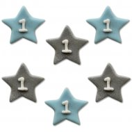 6 Décors Little Star baby Boy (2,5 cm) - Sucre