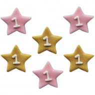 6 Décors Little Star baby Girl (2,5 cm) - Sucre