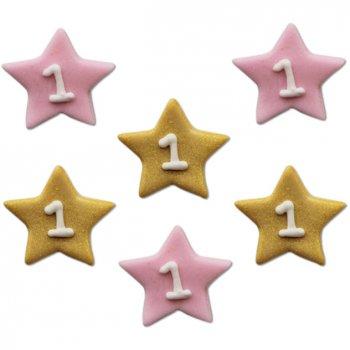 6 Décors Little Star baby Girl (2,5 cm) - Sucre