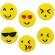 6 Décors Emoticones Smiley (3 cm) - Sucre
