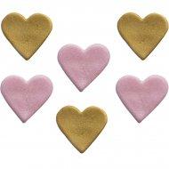 6 Décors Coeur Rose et Or (2,5 cm) - Sucre
