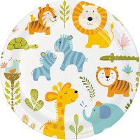 Contient : 1 x 8 Assiettes Happy Jungle