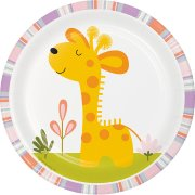 8 Petites Assiettes Happy Jungle Girafe Rose