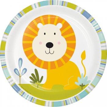8 Petites Assiettes Happy Jungle Lion Bleu
