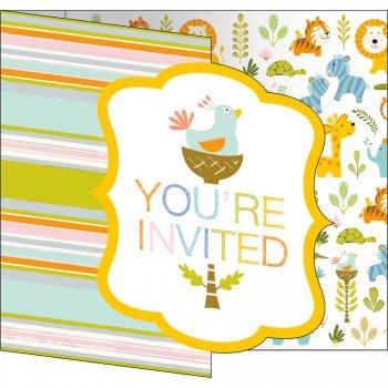 8 invitations Happy Jungle