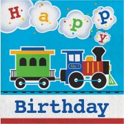 16 Serviettes Petit Train Happy Birthday
