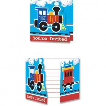 8 invitations Petit Train