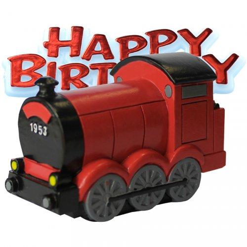 Train 3D + Plaquette Happy-Bithday (7 cm) - Résine