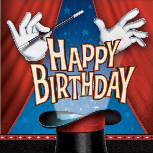 16 Serviettes Happy Birthday Magie