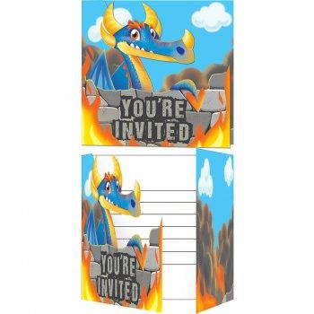 8 invitations Dragon