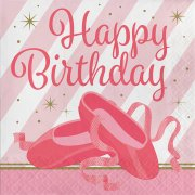 16 Serviettes Happy Birthday Danseuse Etoile