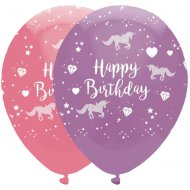 6 Ballons Happy Birthday Licorne Féerique