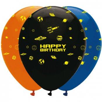 6 Ballons Happy Birthday Espace