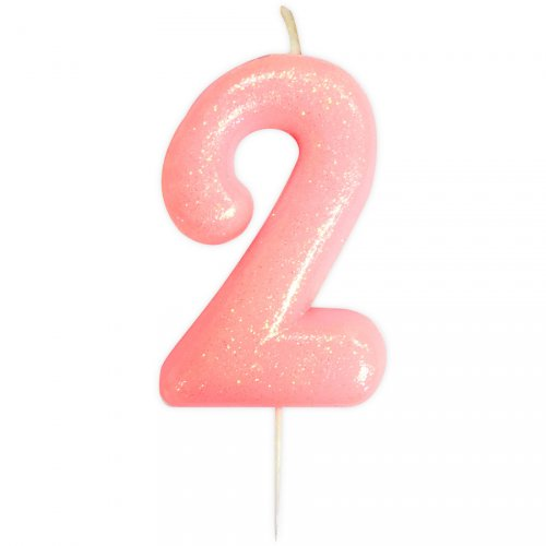 Bougie Rose Glitter Chiffre 2 (7 cm)