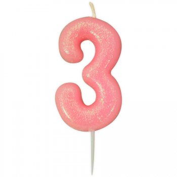 Bougie Rose Glitter Chiffre 3 (7 cm)