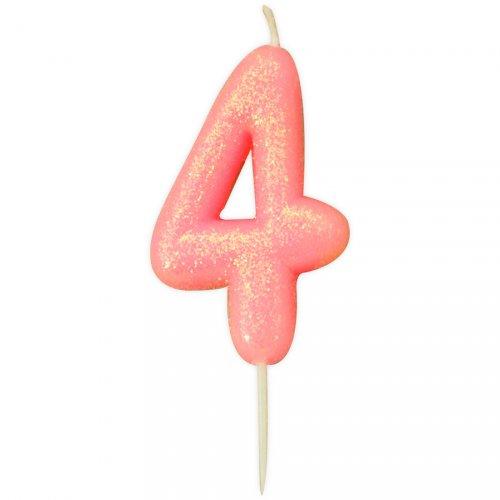 Bougie Rose Glitter Chiffre 4 (7 cm)