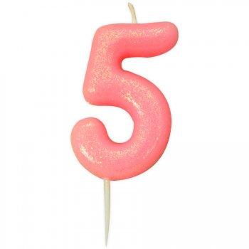 Bougie Rose Glitter Chiffre 5 (7 cm)