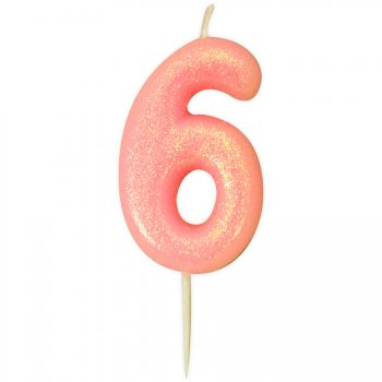 Bougie Rose Glitter Chiffre 6 (7 cm)