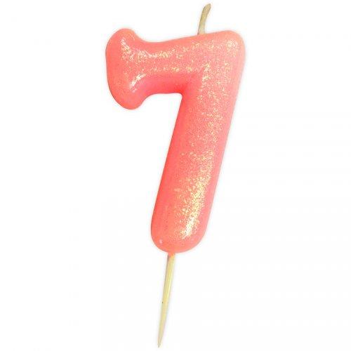 Bougie Rose Glitter Chiffre 7 (7 cm)