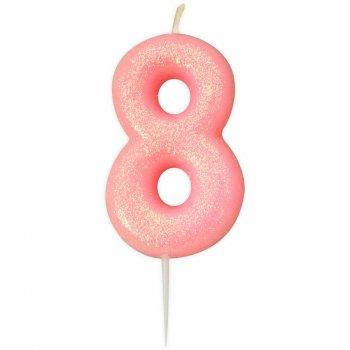 Bougie Rose Glitter Chiffre 8 (7 cm)