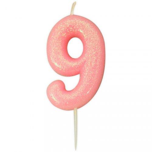 Bougie Rose Glitter Chiffre 9 (7 cm)
