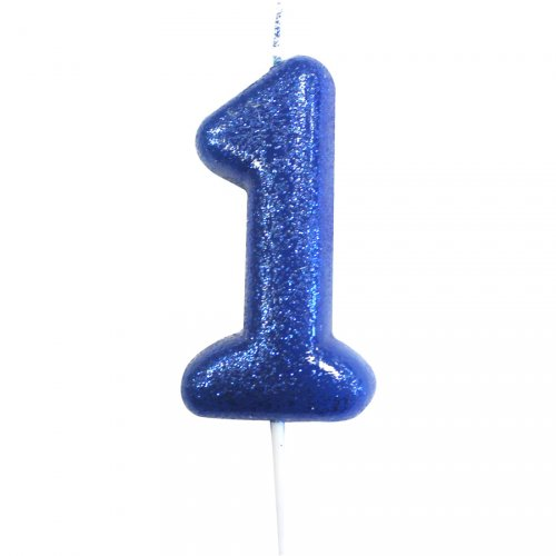 Bougie Bleu Glitter Chiffre 1 (7 cm)