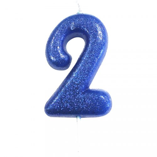 Bougie Bleu Glitter Chiffre 2 (7 cm)