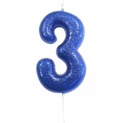 Bougie Bleu Glitter Chiffre 3 (7 cm)
