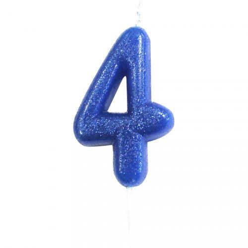 Bougie Bleu Glitter Chiffre 4 (7 cm)