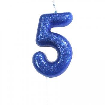 Bougie Bleu Glitter Chiffre 5 (7 cm)