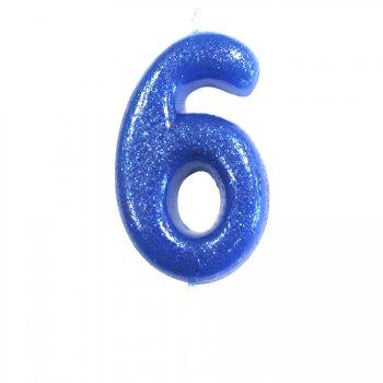 Bougie Bleu Glitter Chiffre 6 (7 cm)