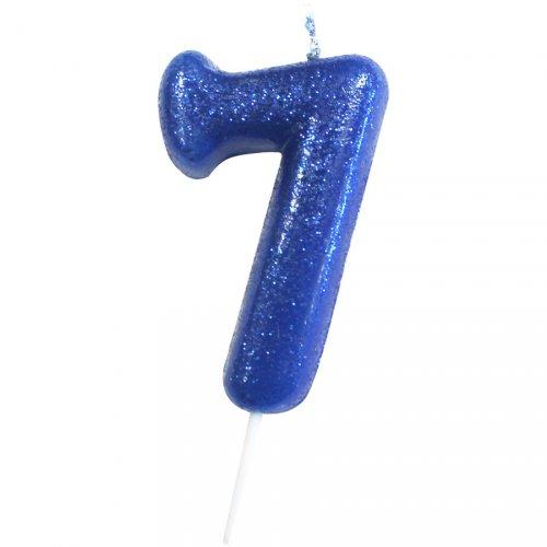 Bougie Bleu Glitter Chiffre 7 (7 cm)